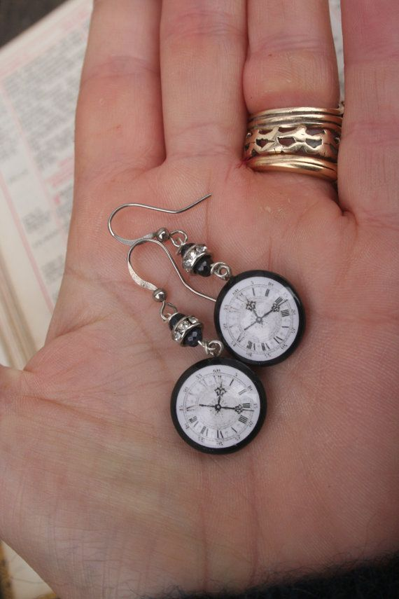 cyber punk Sapphire earrings pocket watch handmade jewelry