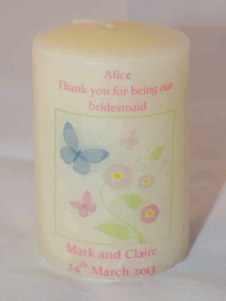 wedding thank you cards time limit%0A personalised wedding gift candles  I deal for a bridesmaid      from https