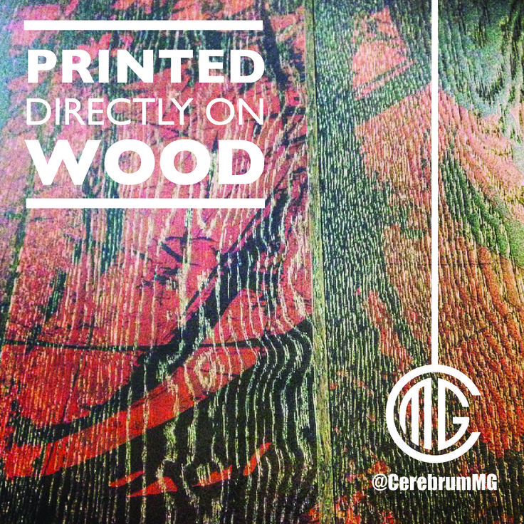 Abtract Artwork UV Printed directly on Wood. This printing method creates an impressive effect, and as you can see, the texture of the material shows through the ink. Questions? Comment & share below. @CerebrumMG | www.cerebrummarketinggroup.com