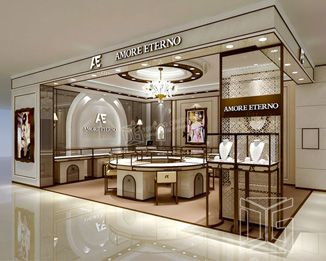 Je13 Luxury Store Temper Glass Jewelry Display Cabinet In