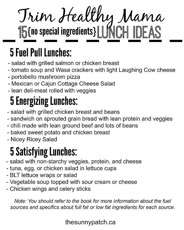 Trim Healthy Mama - Lunch Ideas {no special ingredients}