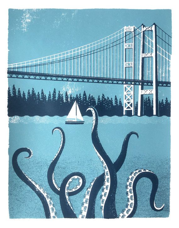 Legend has it that the largest octopus in the world lives below the Tacoma Narrows Bridge in Washington state. In 1940, just four months after it
