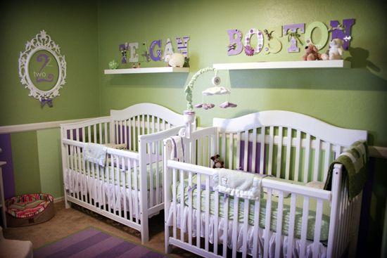 Real Nursery: Purple and Green Home for Girl Twins | Baby Lifestyles: Purple Nurseries, Babies, Girl, Color, Green, Baby Nursery Ideas Twins 61, Twin Babies, Room