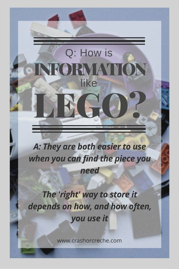 Information is like Lego - it's easier to use when you can find the piece you need. So you need a way to store it - somewhere to 'put it away' so you can find it again. But the 'right' way to store it depends on how, and how often, you need to access it.