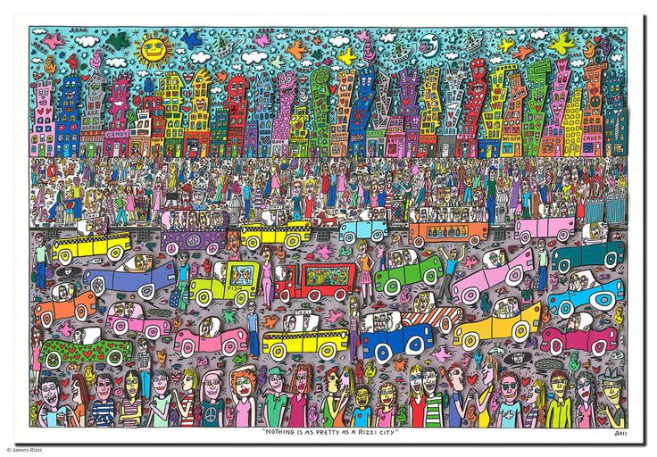 """James Rizzi """"Nothing is as pretty as a rizzi city"""" by Galerie Zimmermann & Heitmann"""