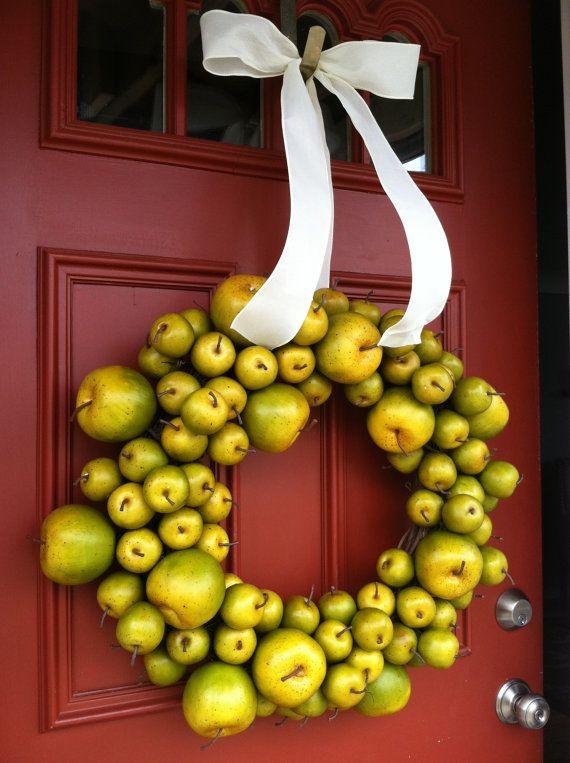 "25"" Apple Wreath, Fruit Wreath, Spring Wreath, All Year Round Wreath on Etsy, $90.00"