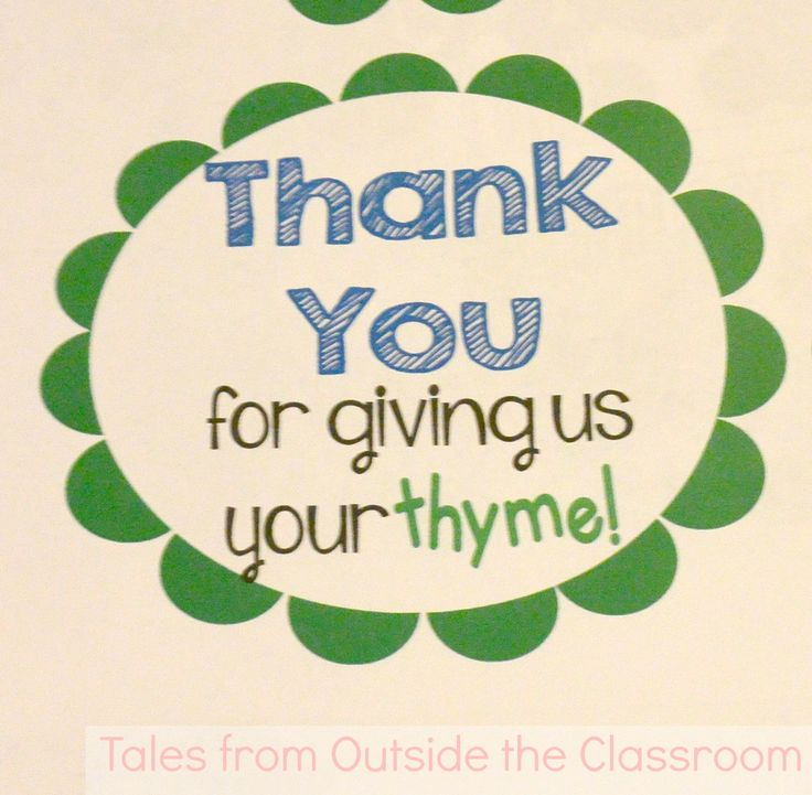 Free thank you tag for volunteers- thank you for your thyme