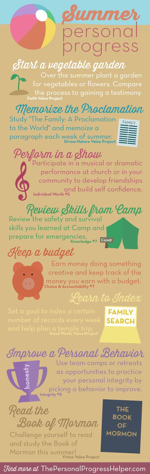 Summer Personal Progress Infographic with Fun Ideas in Each Value! from The Personal Progress Helper