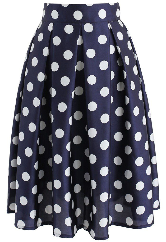 Retro Feeling Polka Dots Pleated A-line Skirt in Navy - New Arrivals - Retro, Indie and Unique Fashion