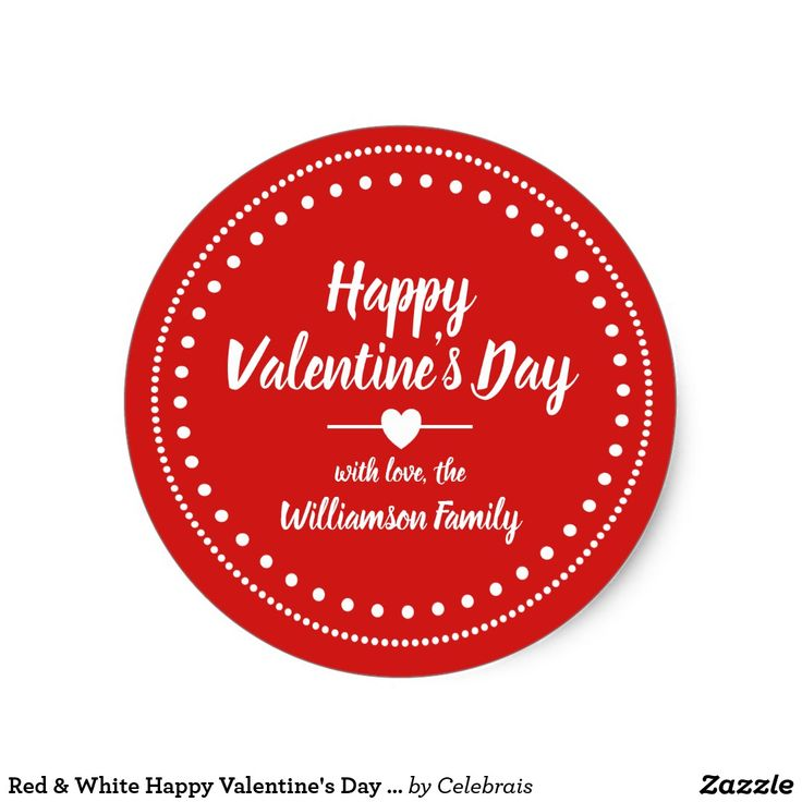 Red s day personalized classic round sticker