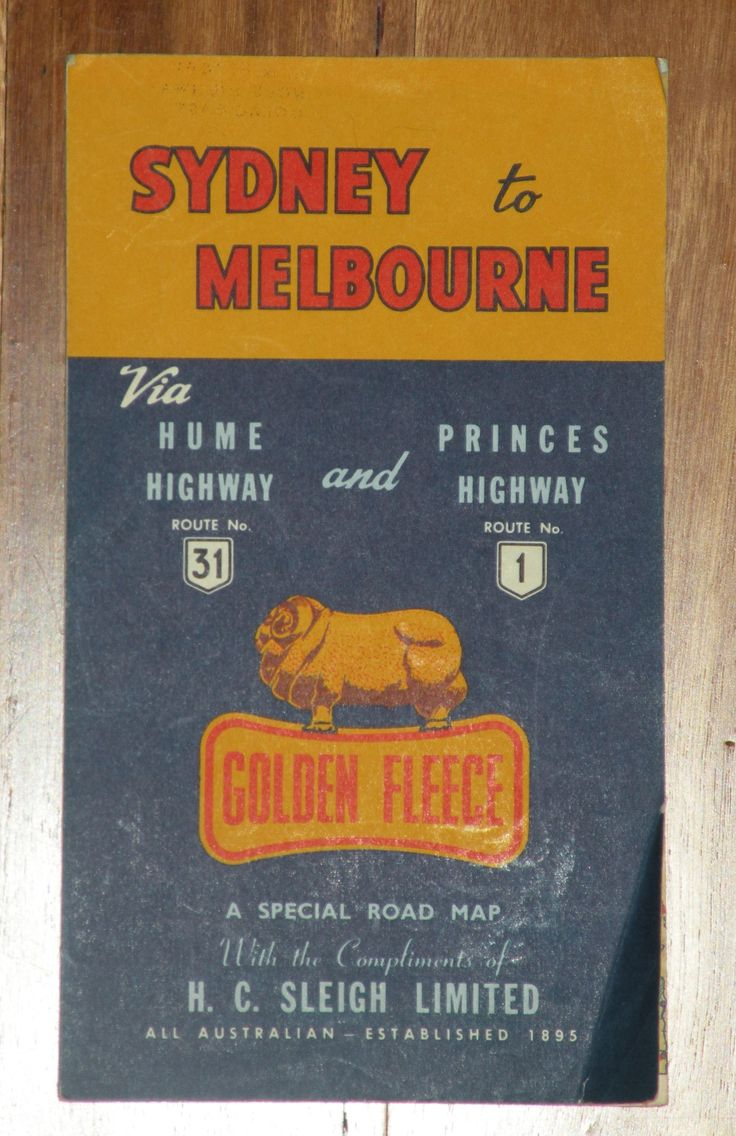 Golden Fleece road map Sydney to Melbourne , Australia
