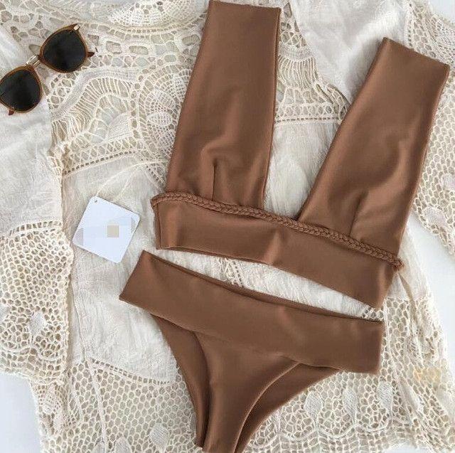 Newest Halter Top Bikinis Women Swimsuit Sexy Female Push Up Swimwear Brazilian Thong Low-Cut Beach Solid Brown Bathing Suit