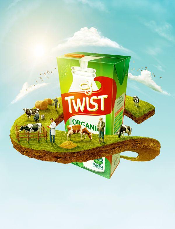 Twist Organic Milk by AO STUDIO, via Behance