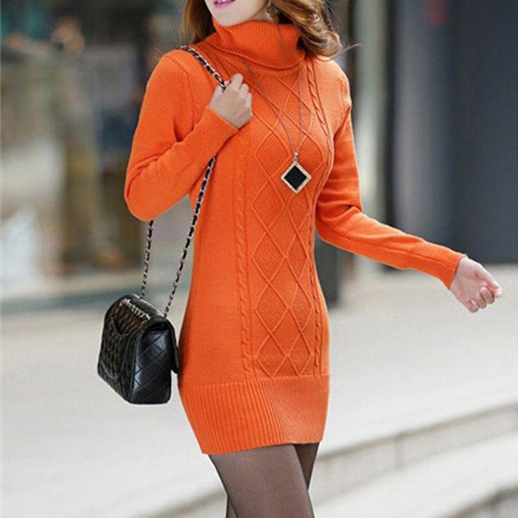 Chandail orange à col roulé - Si Joly