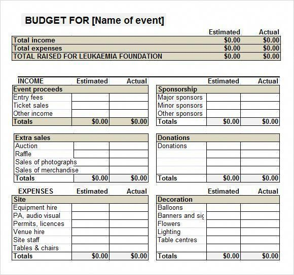 Budget Spreadsheet Template Excel With Images Event Planning