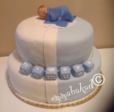 Baby boy christening cake Doptårtor till liten pojke - emmabakad.blogg.se