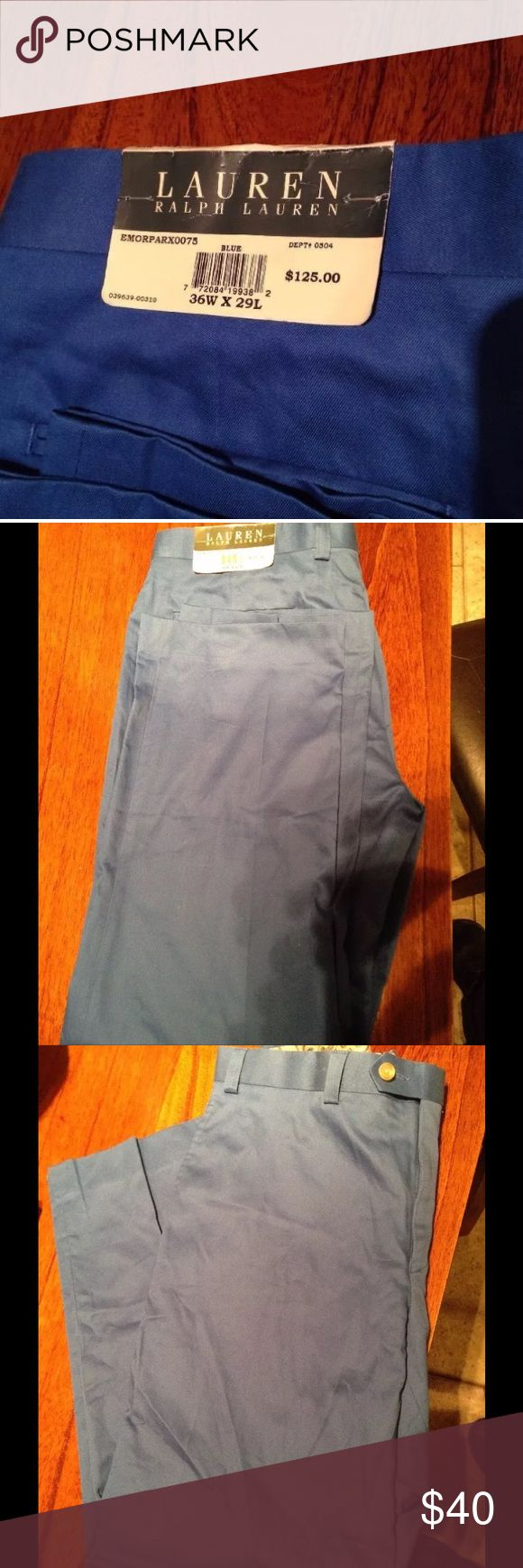 Ralph Lauren 100% cotton Ralph Lauren 100% Cotton Chino Blue Mens 36x29 NWT. Retail of 125.00. Dry clean only. Ralph Lauren Pants Chinos & Khakis