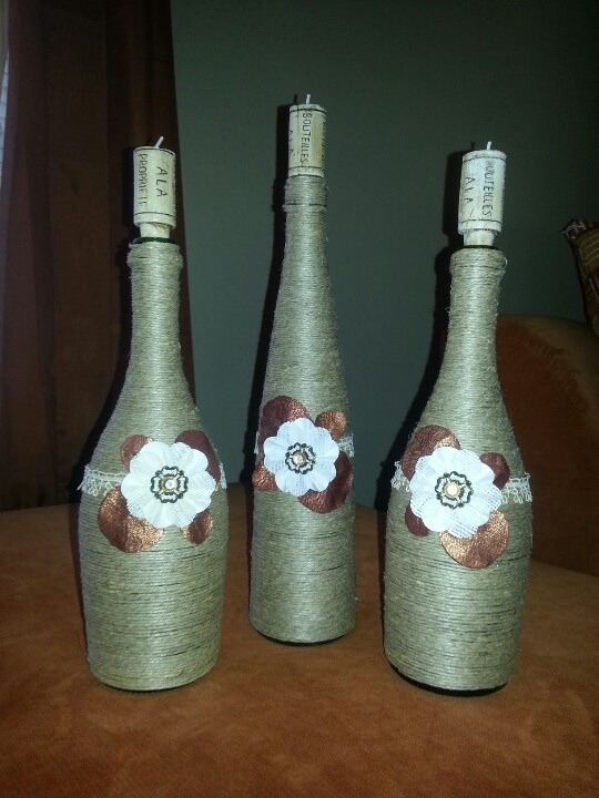 185 best wine bottle decorations images on pinterest for Wine bottle decorations handmade