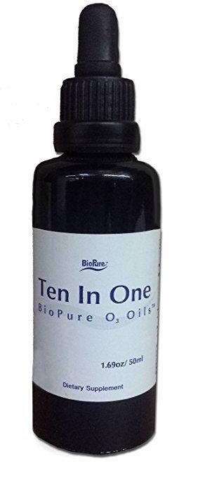 Diez Biopure en un aceite O3 - Aceite de oliva ozonizado y aceite de ricino: menta, geranio, nuez, clavo de olor, Artemisia, ajo, comino Negro, mejorana, Moxa, tomillo, aceite de almendras amargas, Incienso (50 ml, líquido)