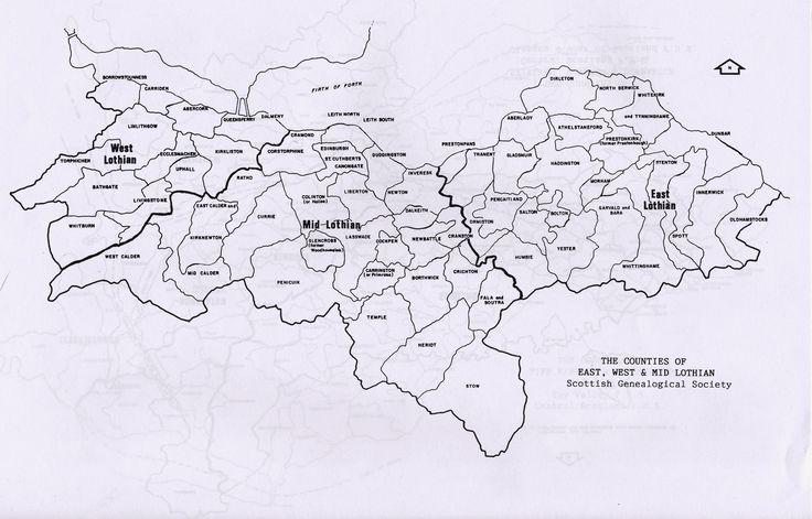 Parish maps of Midlothian, West Lothian and East Lothian county from Scotlandsfamily.com - Scottish genealogy portal assisting Scottish ancestor search