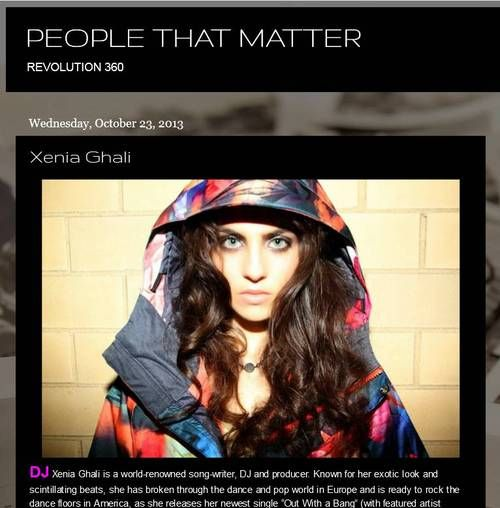 People That Matter: DJ Xenia Ghali on Revolution 360 'Known for her exotic look and scintillating beats' #music #DJ