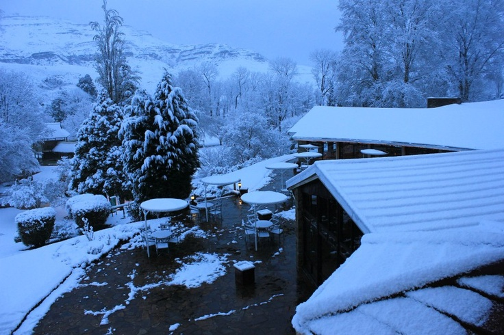 The Outdoor Restaurant under Snow at Sani Pass Hotel