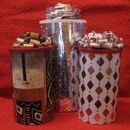 Step 0: Cool recycled gift canister, wrapping, and fabulous bow