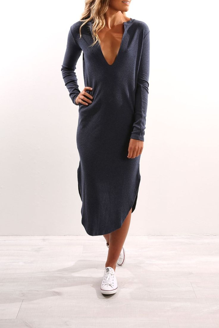 Fly With Me Long Sleeve Dress Navy Marle | Women's | Jean Jail | Clothes Online | Shoes | Womens Fashion | Mens Fashion