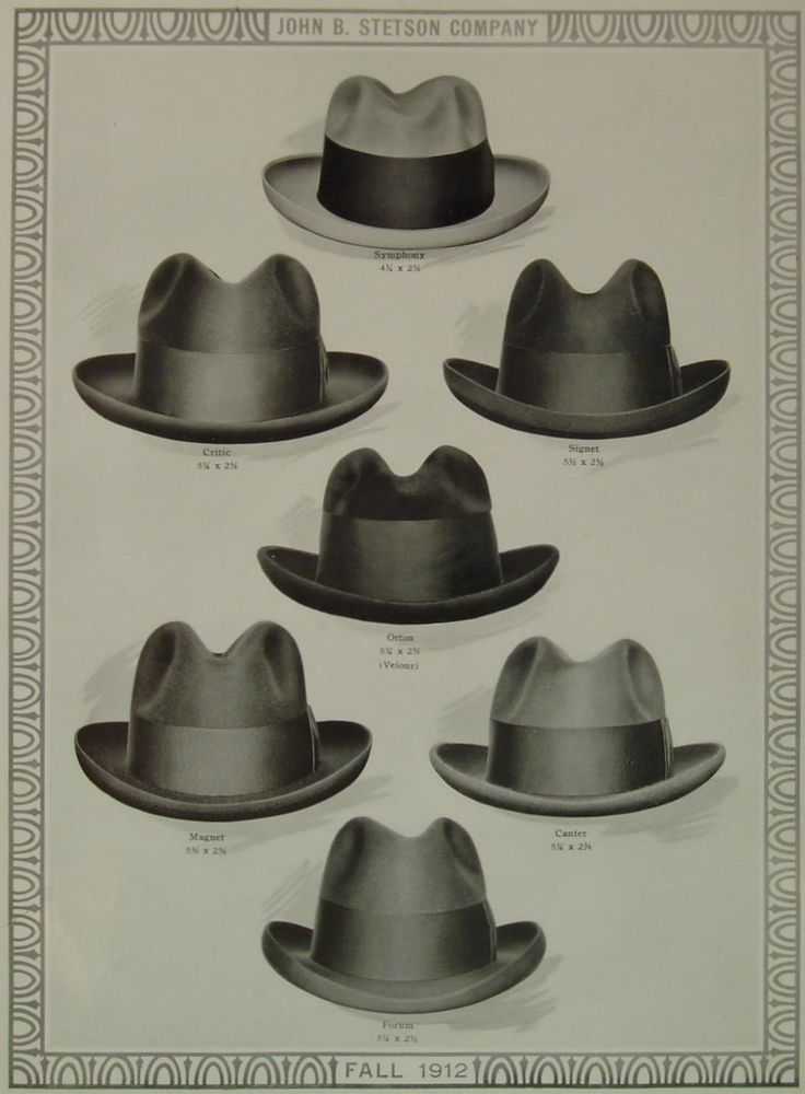 1912 - Fall collection From up and left to right you can see styles that also had creative names like SYMPHONY, CRITIC, SIGNET, ORTON, MAGNET, CANTER, FORUM. Well back in those days every man had to pick his style which fit him the most and did refelct his personalty best.