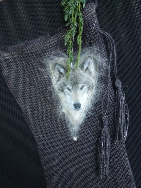 Christmas-stocking with wolf(burlap,paper,wool),made by UNNI HOFF