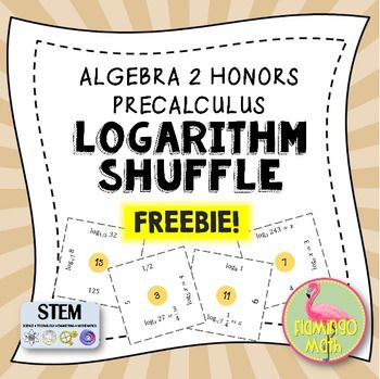 Here is a FREE focused practice to help students evaluate basic logarithmic expressions and solve logarithmic equations. There is rigor in the exercise to challenge your brightest students. Easy prep for you, simply copy the activity on one sheet and the recording sheet for the solution set on another page.