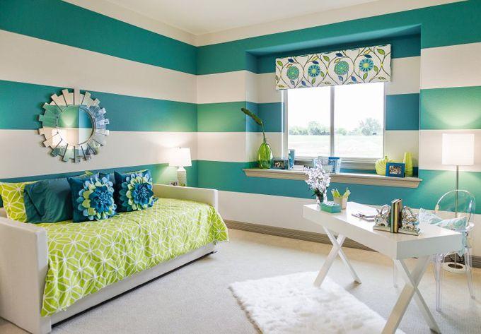 turquoise striped walls | Michelle Thomas Design