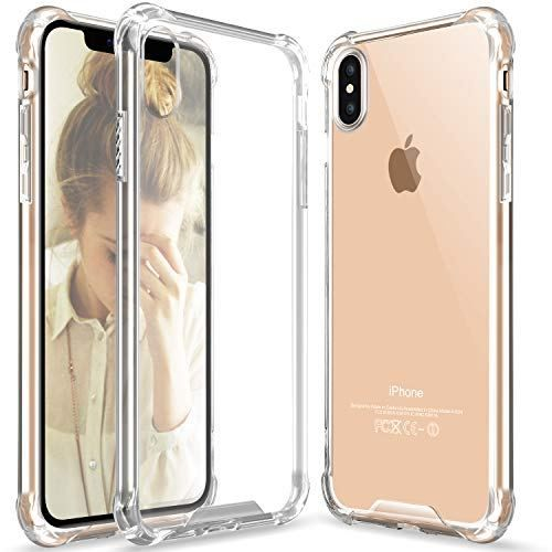 Clear iPhone Xs Max case, iPhone Xs Max Crystal Clear Case Slim Hybrid Shockproof Anti-Scratch Hard Back Soft Shock Absorption Technology TPU Bumper Drop Protective Cover Compatible Apple iPhone X Max