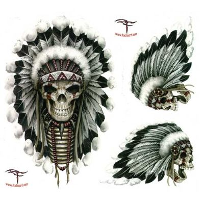 Skull indian signs and symbols lethal threat indian skull decal set