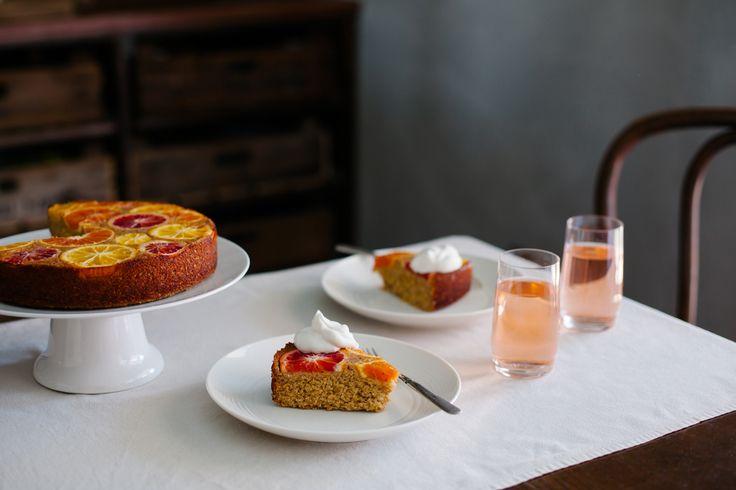 Upside Down Citrus Polenta Cake - Golubka Kitchen