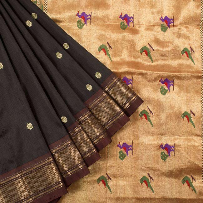 Ghanshyam Sarode Wood Bark Brown Paithani Silk Handwoven Saree with Floral…