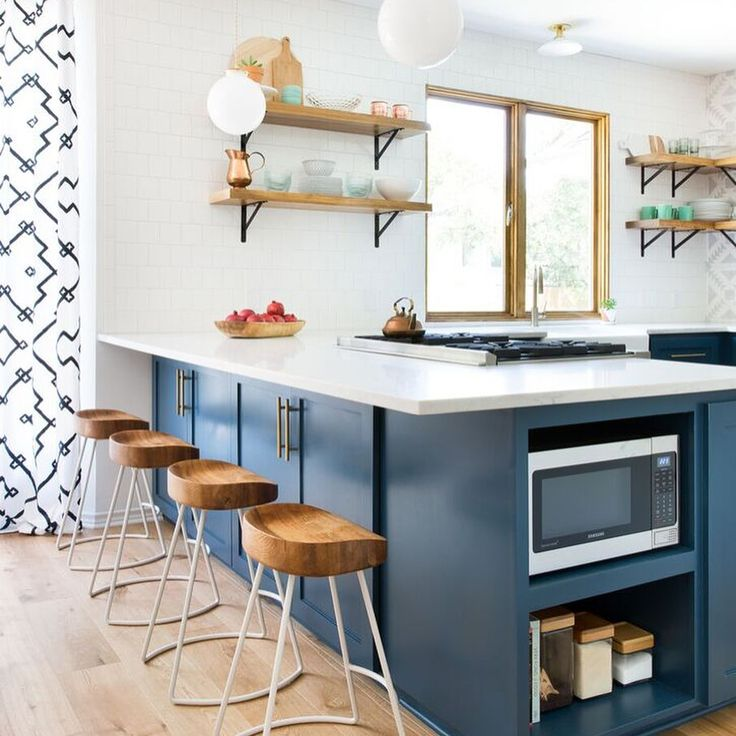 White Blue Kitchen Black Wallpaper Open Shelving From Shannon Dings Interiors