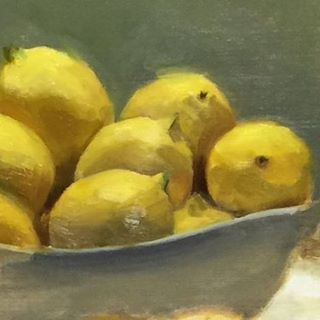 Study of lemons. I love painting portraits, but I also have a thing for fruit. Each lemon is like a little portrait! #art #oilpainting #oiloncanvas