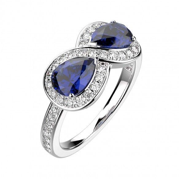 Gemmyo : Bague Newport - Or blanc 18 cts, Saphir et Diamants