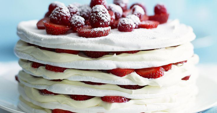 Strawberries and Cream Meringue Cake Recipe