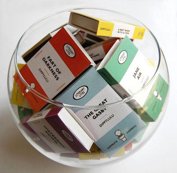 Stocking stuffer book lover gag gift matchboxes -- Collected Works of Literary Lites. Boxed set of farty fun.
