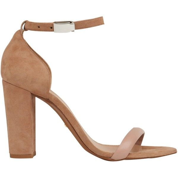 Whistles Hyde Block Heeled Sandals ($130) ❤ liked on Polyvore featuring shoes, sandals, nude, strappy sandals, flat leather sandals, nude flat sandals, nude sandals and flat sandals
