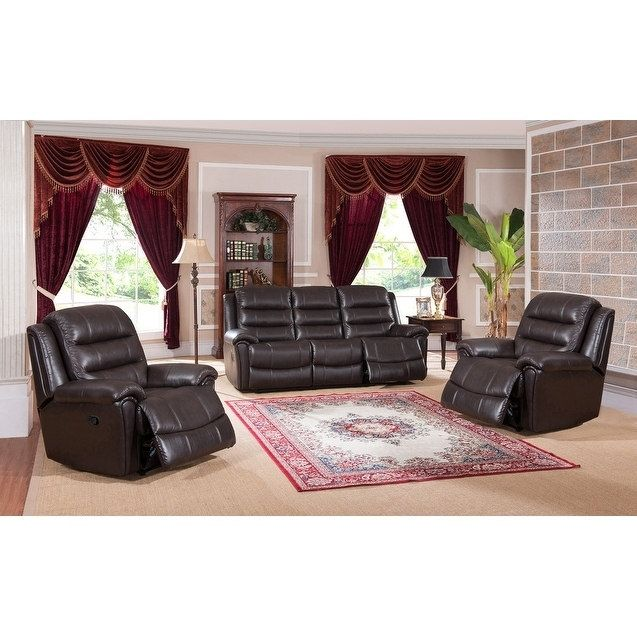 Coja Brookville Leather Sofa and Two Chairs Recliner Set