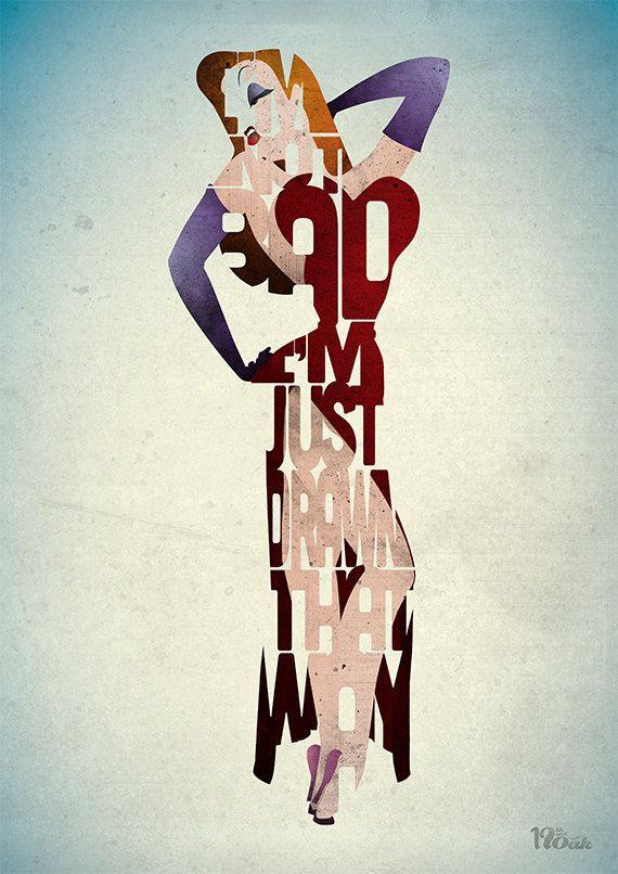 Kathleen Turner as Jessica Rabbit in Who Framed Roger Rabbitt Typography Art Print by 17th andOak on Etsy