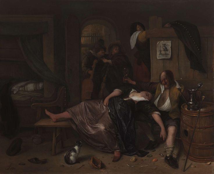 Het dronken paar, Jan Havicksz. Steen, ca. 1655 - ca. 1665. Van Britt. Het ziet er chaotisch uit.