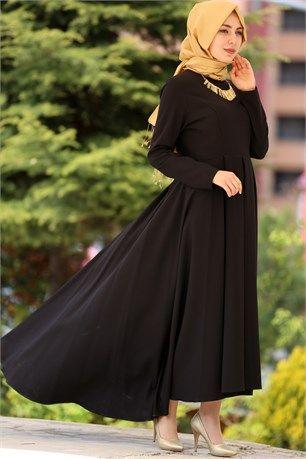 İroni - Önü Kısa Arkası Uzun Tesettür Elbise - 5071 - Siyah