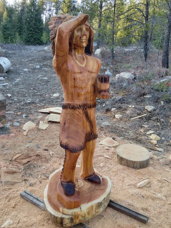 Our Cigar Store Indian sculptures offer more than just old sentiment, they are done by skilled artisans. Each is unique and every detail is thoughtfully done. With years of experience under our belts, we are obsessed with each becoming a wonderful piece of art. Customize yours any size you prefer. Be sure to view the drop down menu for multiple options. The smallest and most basic design is our 4 ft. version were the arms will be in a down position with both legs straight.  Shown is a 5ft…