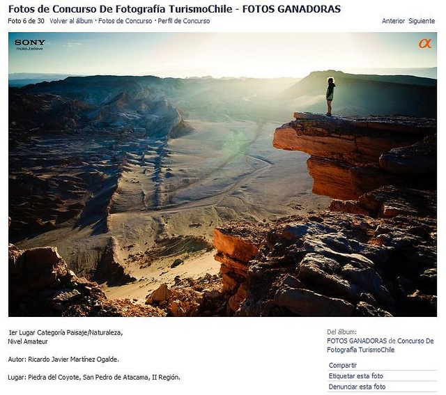 "Foto ganadora ""Concurso de Fotografía TurismoChile"" / Winner photo from the Turismo Chile contest."