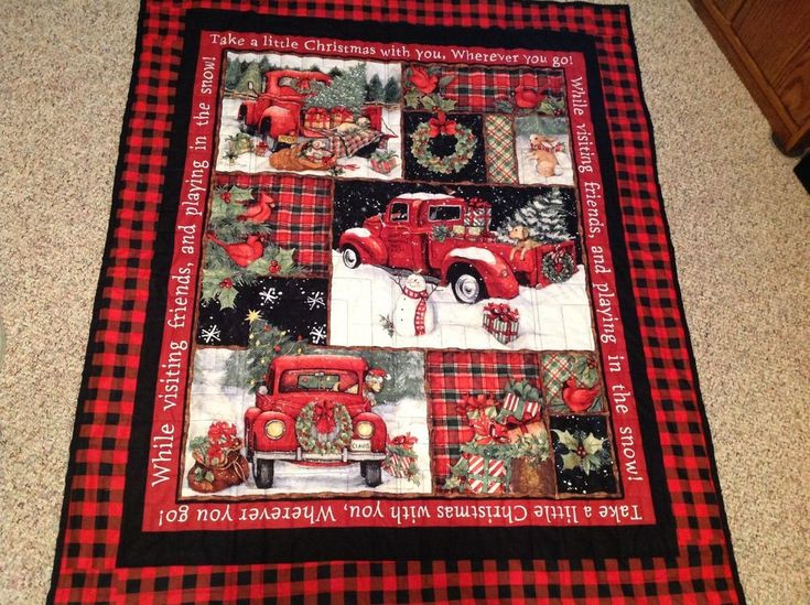 Truck Camping Ideas >> Red christmas truck - new handmade quilt/ wall hanging ...