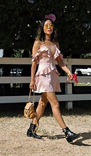 Blush ruffle litte dress+black booties+camel backpack+choker+necklaces+sunglasses. Summer Day Party Outfit 2017
